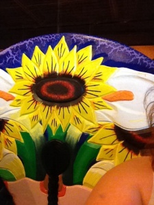 Flower on seat at Mexican Food place